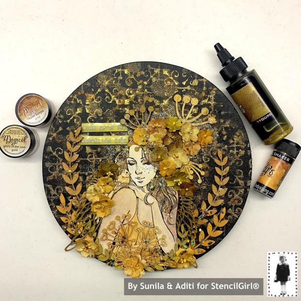 Stencilgirl Blog Hop Sunila Mahajan Aditi Mahajan Dots to Lines Lindy's 2