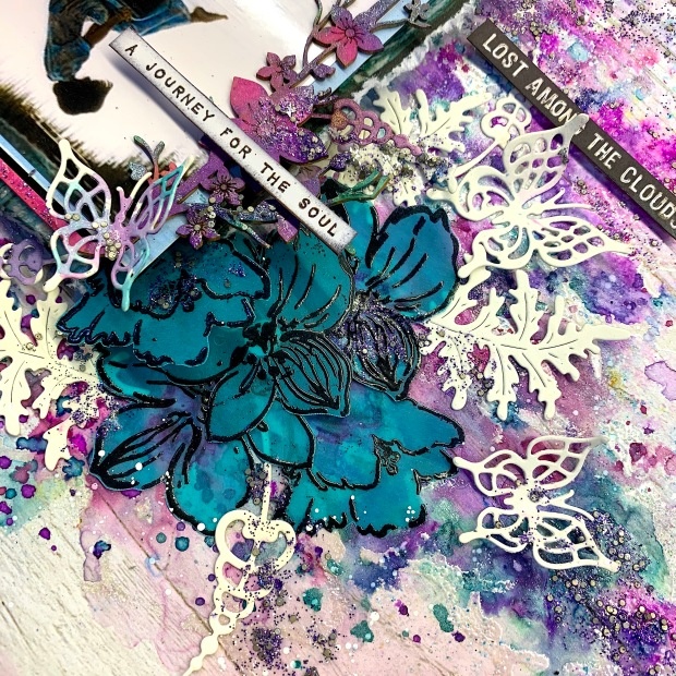 Oh Wildflower_Mixed Media Layout_Dots to Lines_Sunila Mahajan_Aditi Mahajan_Lindy's_Altenew__Fantasy Dies_7Dots Studio 4