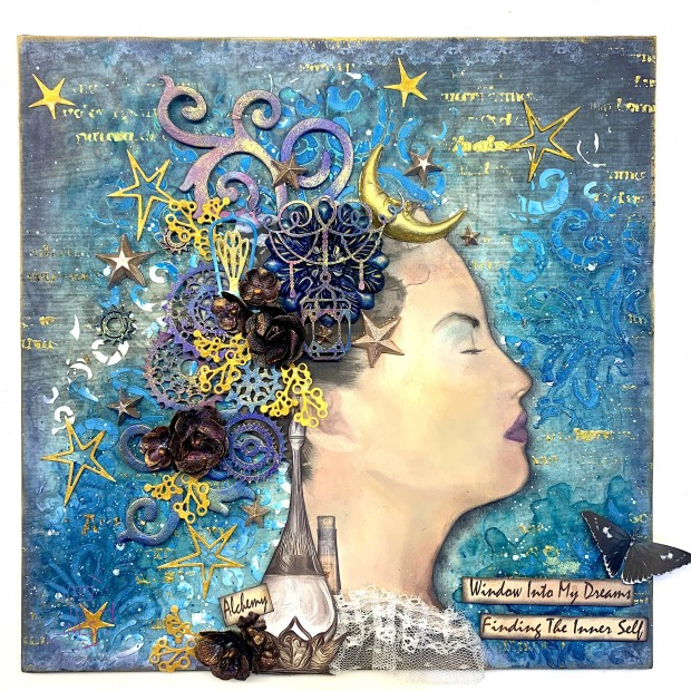 Alchemy Layout_Aditi Mahajan_Dots to Lines_Sunila Mahajan_Mixed Media Layout_Lindy Gang_Finnabair_CraftTangles_Cadence